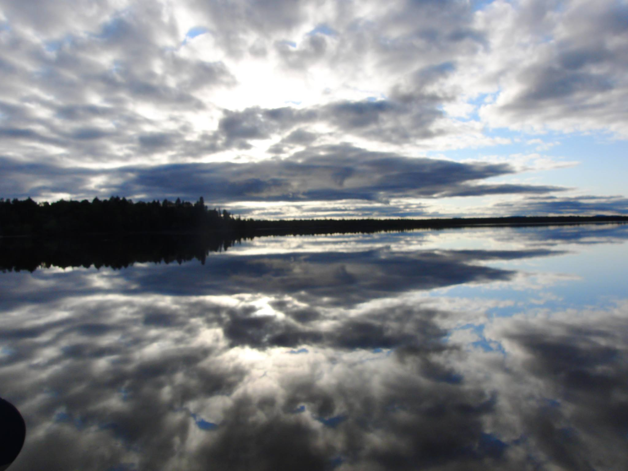 Beautiful reflective afternoon sky on Lobster Lake