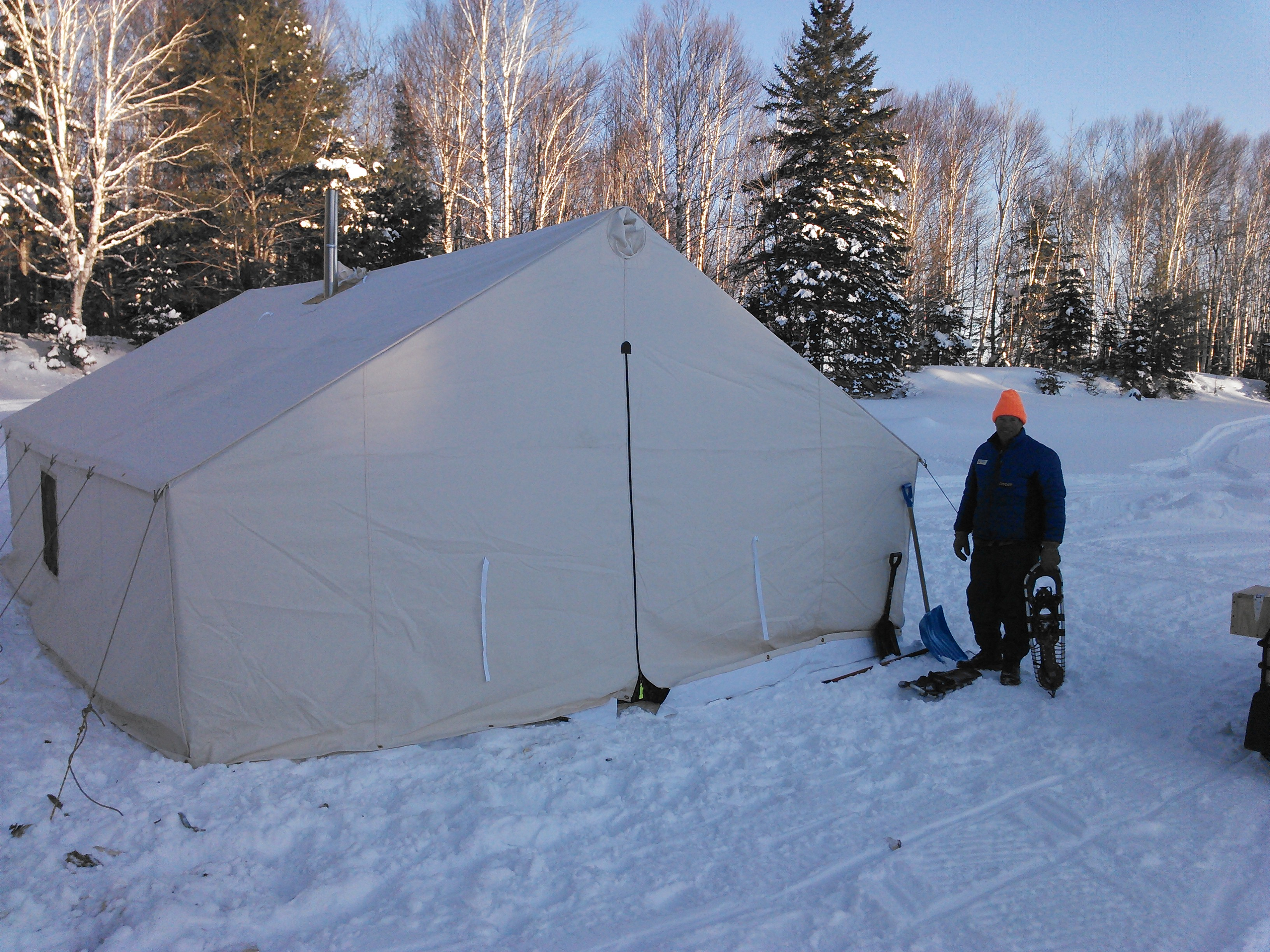 Winter camping in Maine