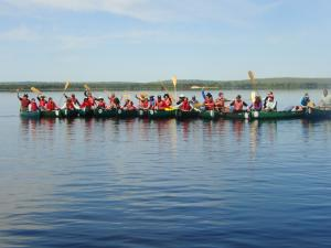 A large group on an Allagash canoe trip